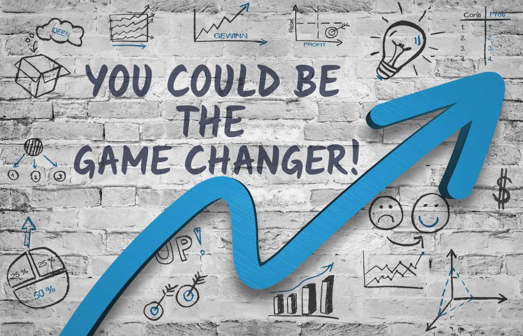 Be the game changer! (illustration of big ideas and profits going up)
